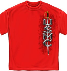 MidMil Marines T-Shirt with Sword on front and Globe and Anchor on Back Red