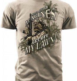 """MidMil Marines T-Shirt """"Get off my Lawn"""" Khaki"""