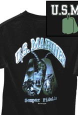 MidMil Marines T-Shirt with Dog Tag showing Iwo Jima Flag Raising Black