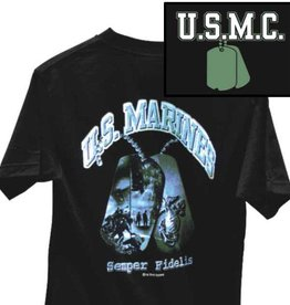 MidMil Marines T-Shirt with Dog Tag showing Iwo Jima Flag Raising Black