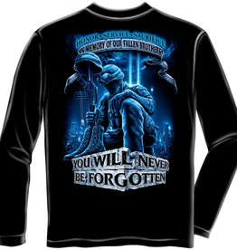 "MidMil Fallen Soldiers Memorial Long Sleeve T-Shirt ""Never Forgotten"" Black"