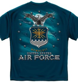 Air Force T-shirt with USAF and Missile on front, Emblem on Back Black