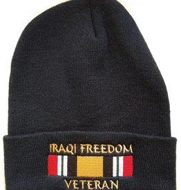 Iraqi Freedom Veteran Knit Cuffed Hat with Ribbon Black