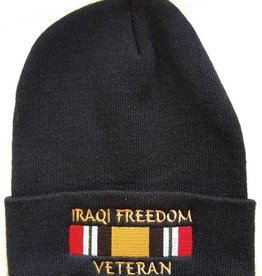 MidMil Iraqi Freedom Veteran Knit Cuffed Hat with Ribbon Black