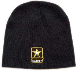 Army Star Beanie Knit Hat Black