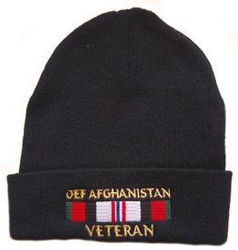 OEF Afghanistan Veteran Knit Cuffed Hat with Ribbon Black