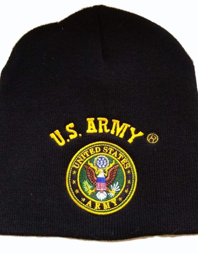 Army Knit Beanie Hat with US Army Seal Black - Midtown Military bb4b6020db9