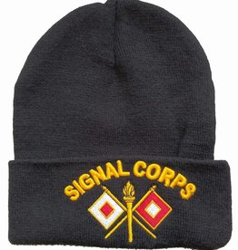 Army Signal Corps Knit Cuffed Hat with Emblem Black