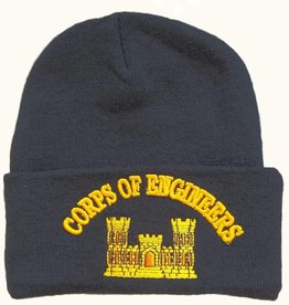 MidMil Army Corps of Engineers Cuffed Knit Hat Black