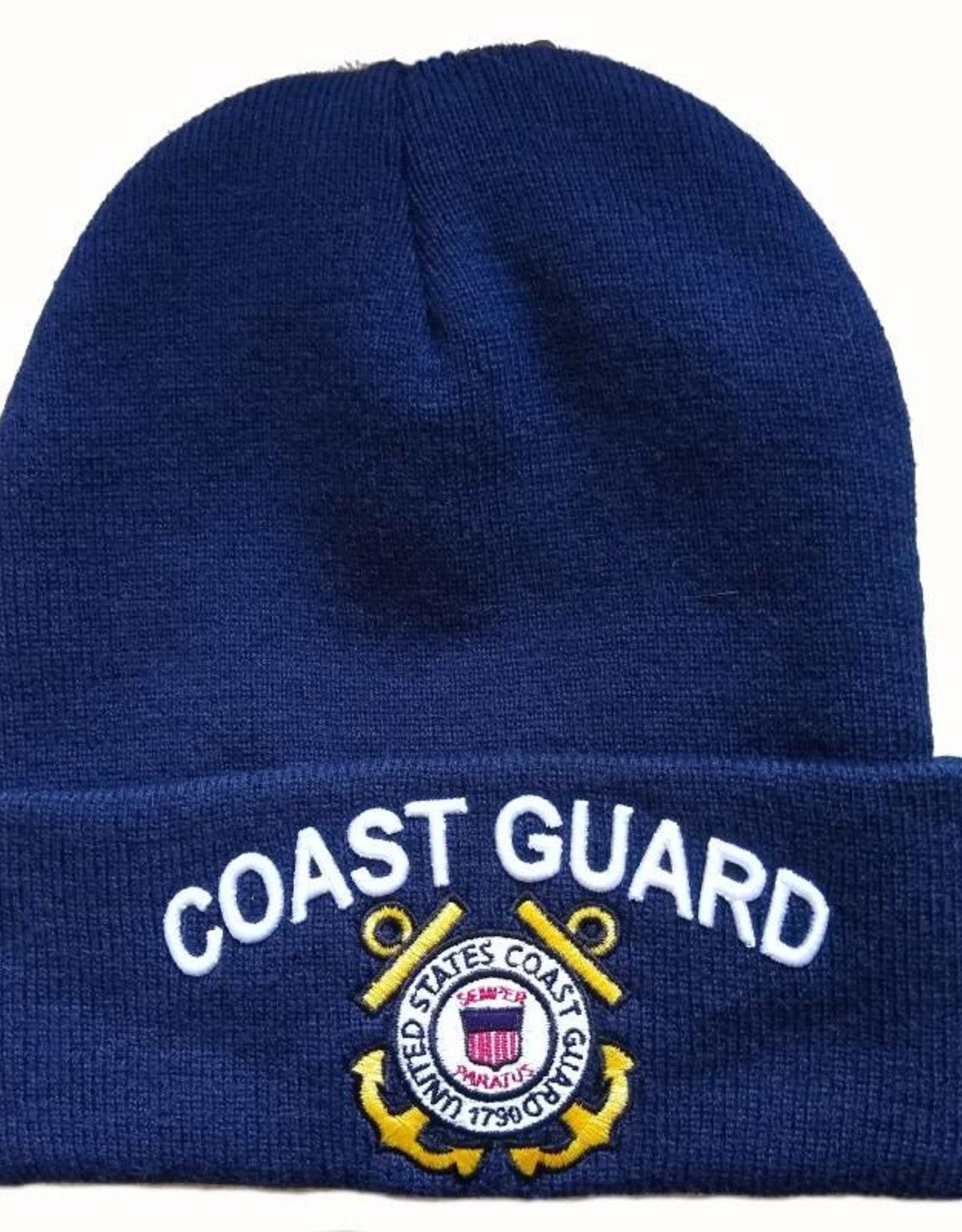 MidMil Coast Guard Cuffed Knit Hat with Emblem Dark Blue