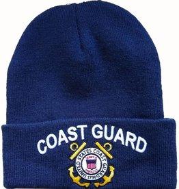 Coast Guard Knit Cuffed Hat with Emblem Dark Blue