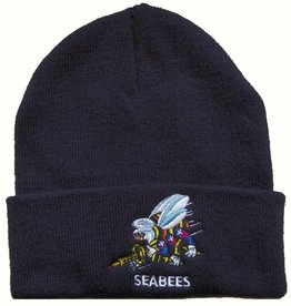 MidMil Navy SeabeesKnit Cuffed Hat with Emblem Black