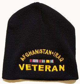 Afghanistan*Iraq Veteran Black Knit Beanie Hat with Ribbons