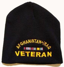 MidMil Afghanistan*Iraq Veteran Black Knit Beanie Hat with Ribbons