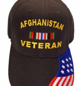 MidMil Afghanistan Veteran Hat with Ribbon and Red White and Blue Flag on bill Black
