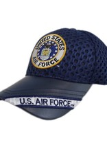MidMil Air Force Hat with Seal and US Air Force on Leather Bill Athletic-Mesh Black