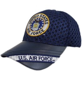 Air Force Hat with Seal and US Air Force on Leather Bill A-Mesh Black