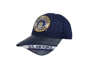 f153dc28 Air Force Hat with Seal and US Air Force on Leather Bill A-Mesh Black -  Midtown Military