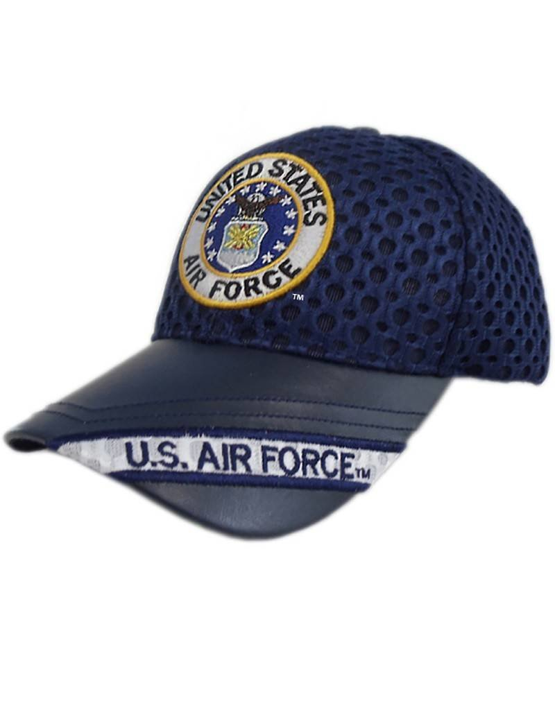 Air Force Hat with Seal and US Air Force on Leather Bill Athletic-Mesh Black