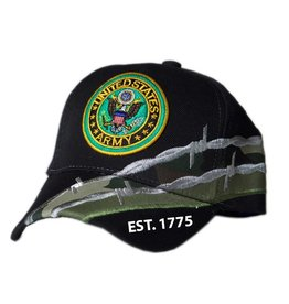 MidMil Army Hat with Seal and Barbed Wire Black