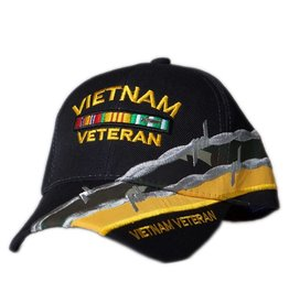 MidMil Vietnam Veteran Hat with Ribbons and Barbed Wire Black