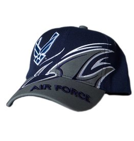 Air Force Hat with Wing Emblem and Splash Black