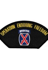 """MidMil Embroidered Operation Enduring Freedom Patch with10th Infantry Emblem 5.2"""" wide x 2.7"""" high Black"""