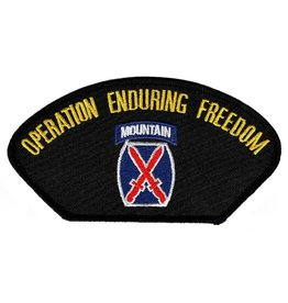 "MidMil Embroidered Operation Enduring Freedom Patch with10th Infantry Emblem 5.2"" wide x 2.7"" high Black"