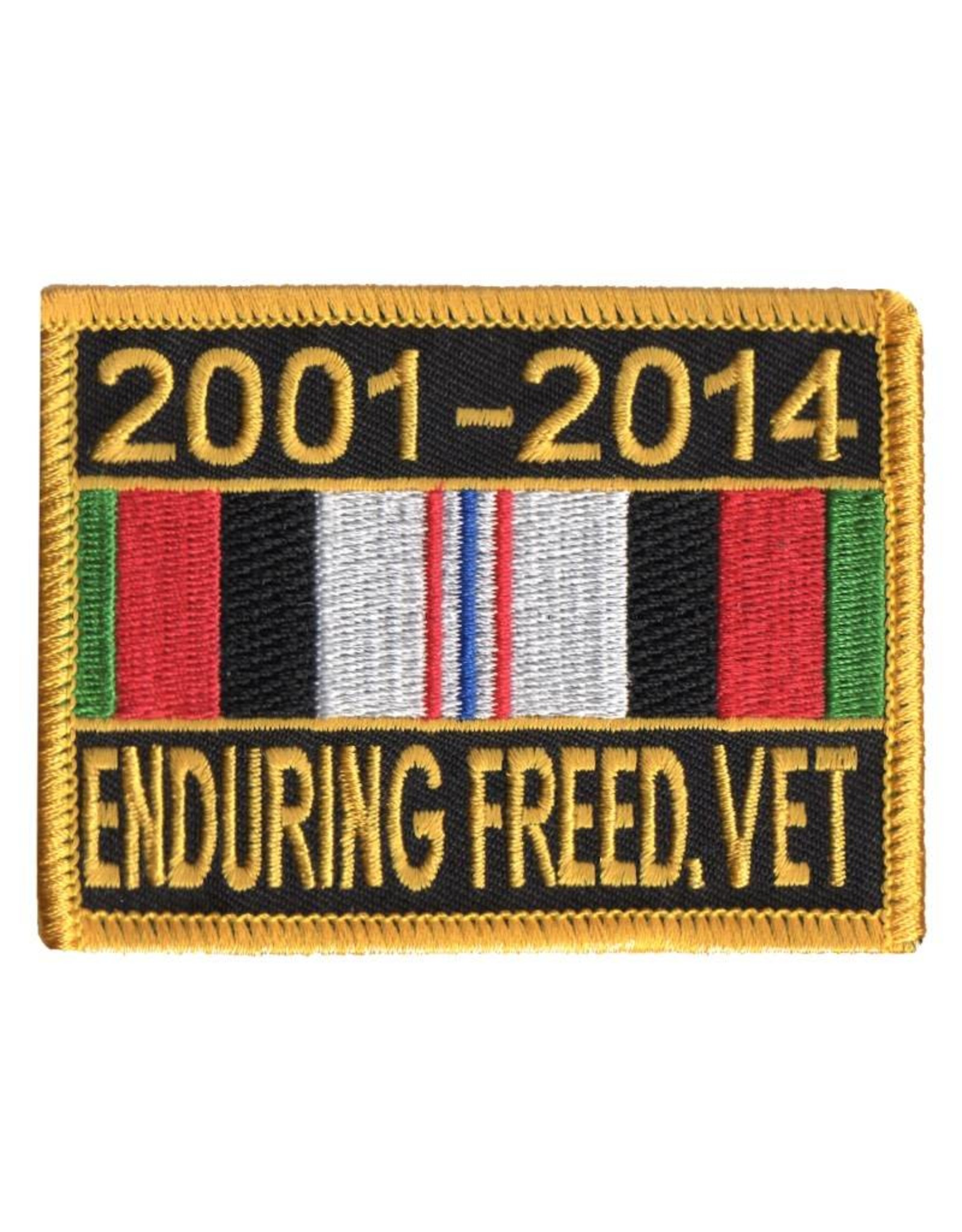 "MidMil Embroidered 2001-2014 Enduring Freedom Veteran Patch with Ribbon  2.65"" high x 3.5"" wide"