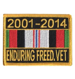 "MidMil Embroidered 2001-2014 Enduring Freed. Vet Patch with Ribbon  2.65"" high x 3.5"" wide"