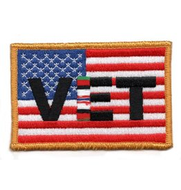 Embroidered VET on US Flag Patch with Afghanistan Ribbon