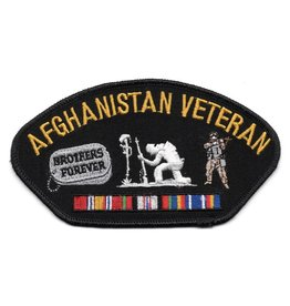Embroidered Afghanistan Veteran Patch with Ribbons, Dog tags, and soldiers