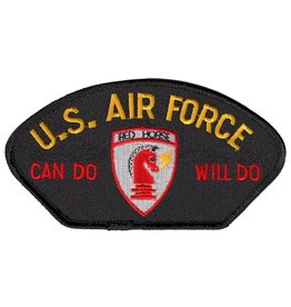 MidMil Embroidered Air Force Patch with Red Horse Emblem and Can Do Will Do Motto