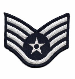 "MidMil Embroidered Air Force Staff Sergeant (E-5) Rank Patch 4"" wide x 3.3"" high"
