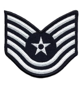 "MidMil Embroidered Air Force Tech Sergeant (E-6) Rank Patch 4"" wide x 3.9"" high"