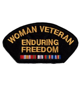 Embroidered Woman Veteran Enduring Freedom Patch with Ribbons