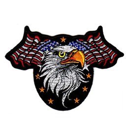 Embroidered Eagle Head with American Flags Patch