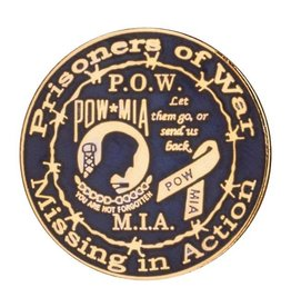 POW*MIA Pin Black and Gold
