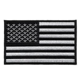 Embroidered Black & White American Flag Patch