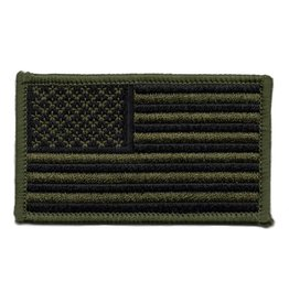 Embroidered Subdued American Flag Patch Black Olive Drab
