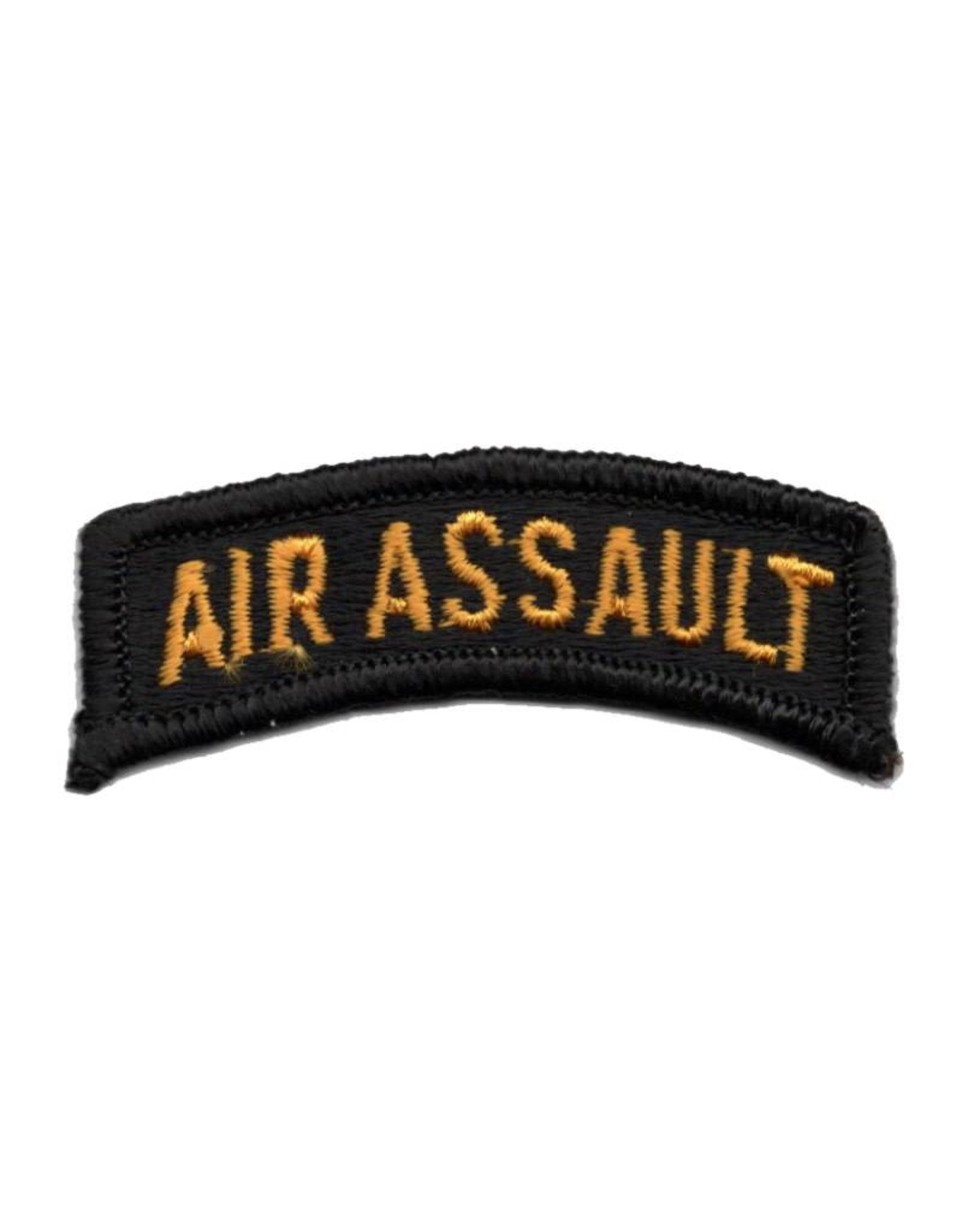MidMil Embroidered Gold on Black Army Air Assault Tab Patch
