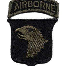 Embroidered Subdued 101st Airborne  Emblem Patch Olive Drab on Black