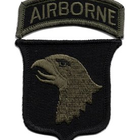 MidMil Embroidered Subdued 101st Airborne  Emblem Patch Olive Drab on Black