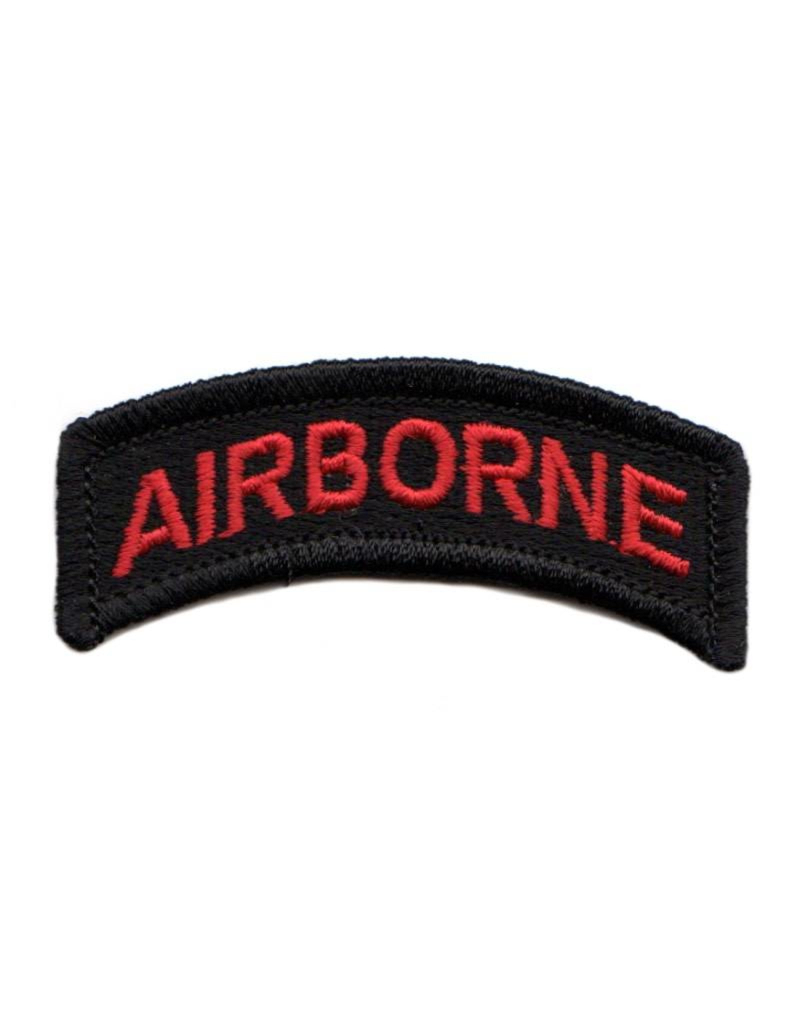 """MidMil Embroidered Red on Black Army Airborne Tab Patch 2.5"""" wide x 1"""" high"""