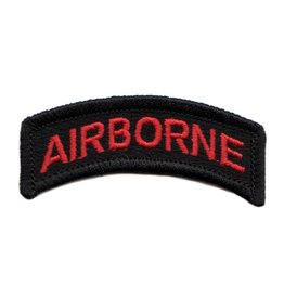 MidMil Embroidered Red on Black Army Airborne Tab Patch