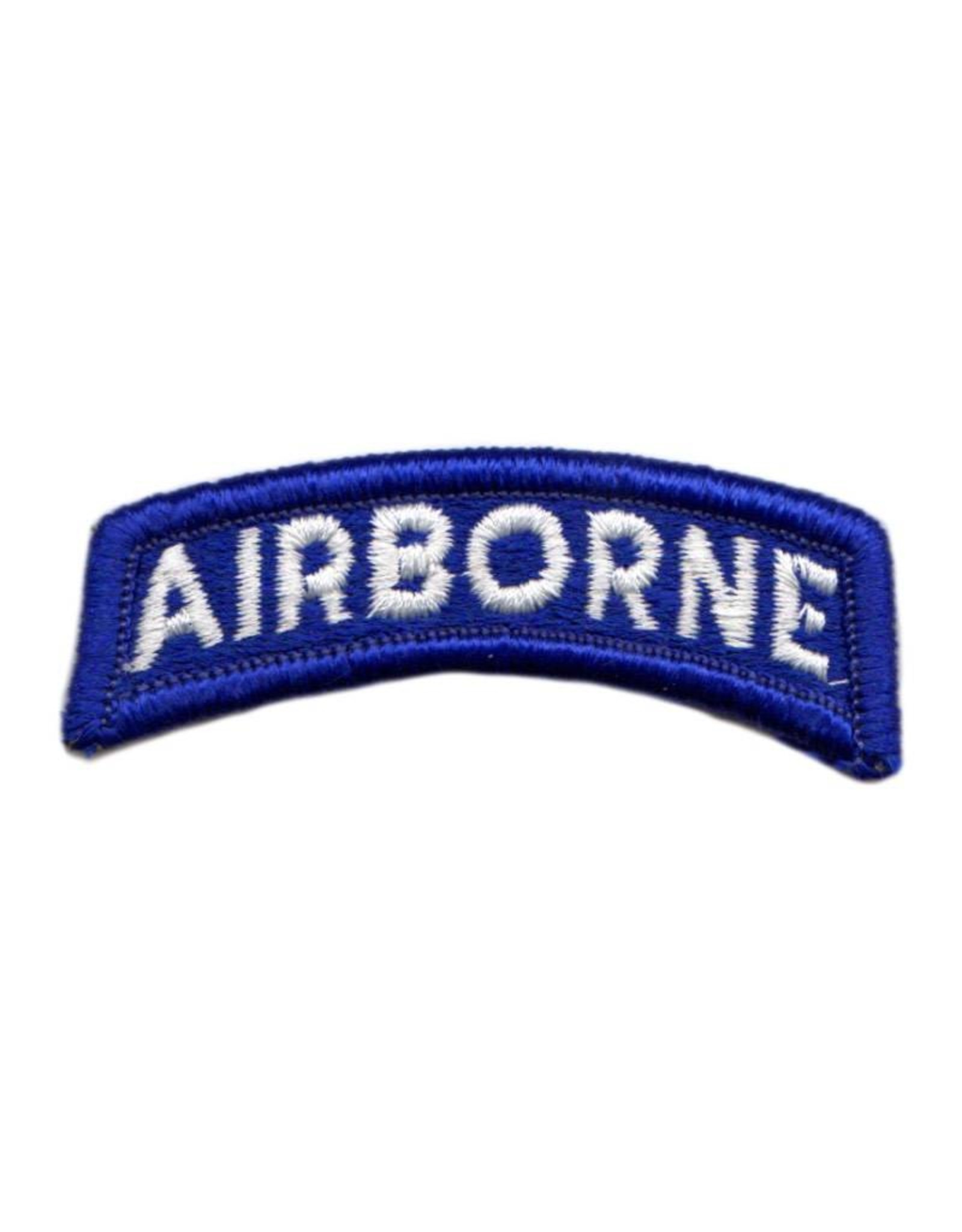 MidMil Embroidered White on Blue Army Airborne Tab Patch