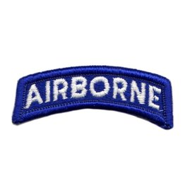 Embroidered White on Blue Army Airborne Tab Patch