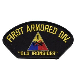 "MidMil Embroidered 1st Armored Division Patch with Emblem and Motto 5.3"" wide x 2.8"" high"