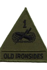 "MidMil Embroidered Subdued 1st Armored Division Emblem Patch ""Old Ironsides"""
