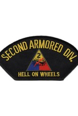 """MidMil Embroidered 2nd Armored Division Patch with Emblem and """"Hell on Wheels""""Motto 5.3"""" wide x 2.8"""" high"""